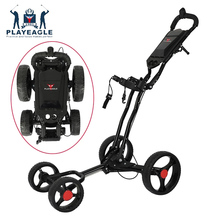 4 Wheels Golf Push Cart Easy Folding Black Aluminum Alloy With Umbrella Holder PLAYEAGLE Golf 4-Wheel-Pull Cart