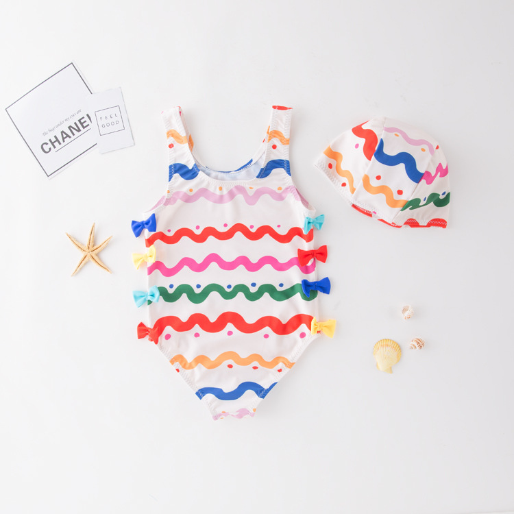 Women's One-piece Swimming Suit Colorful Stripes Butterfly Bowknot KID'S Swimwear Hot Springs Clothing