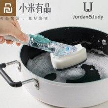 Youpin jordanjudy cepillo de olla de mango largo con dispensador de jabón líquido, depurador, cepillo de limpieza del hogar, limpieza de cocina, utensilios