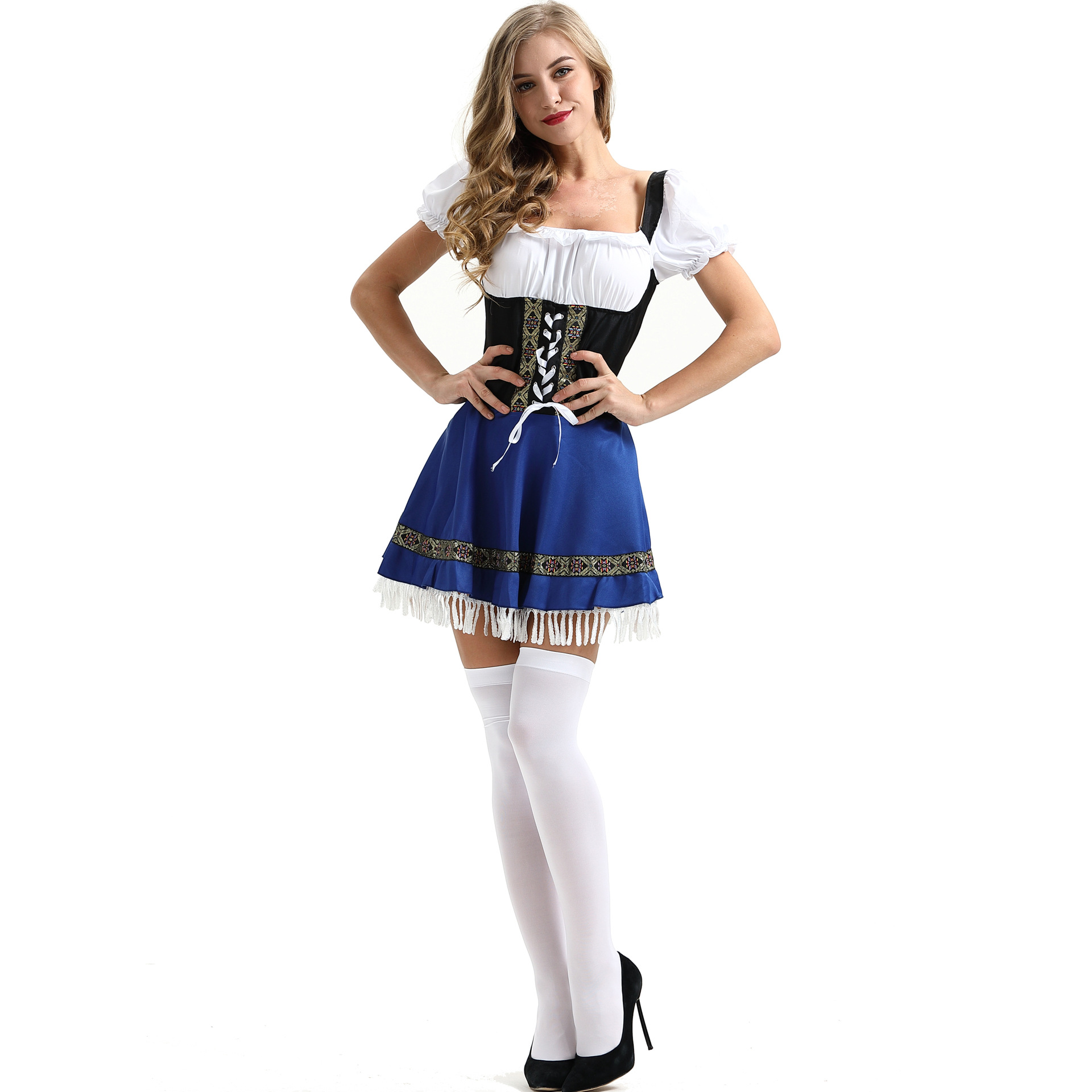 <font><b>Halloween</b></font> Party Game Cosplay Waitress Maid <font><b>Costume</b></font> <font><b>Sexy</b></font> <font><b>Blue</b></font> Bavarian Oktoberfest <font><b>Women</b></font> Dress <font><b>Costume</b></font> S-3XL C45575AD image