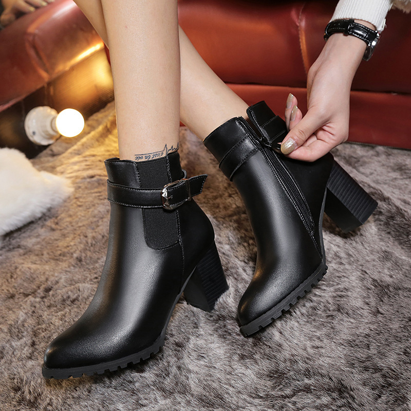 Square High Heels <font><b>Ankle</b></font> <font><b>Boots</b></font> <font><b>for</b></font> <font><b>Women</b></font> <font><b>Shoes</b></font> New <font><b>Winter</b></font> <font><b>Boots</b></font> Female Platform Zipper Ladies <font><b>Shoes</b></font> Woman Black Leather <font><b>Boots</b></font> image