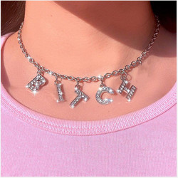 New Trend Silver Color Alphabet Bitch Pendant Fun Game Statement Necklace Women Charm Party Clavicle Chain Jewelry Accessories