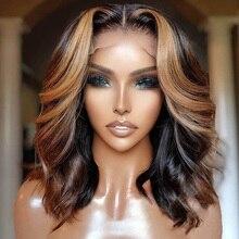 Destaque mel loira peruca dianteira do laço curto bob brasileiro remy perucas de cabelo humano para as mulheres ondulado 13x4 frente do laço perucas de cabelo humano