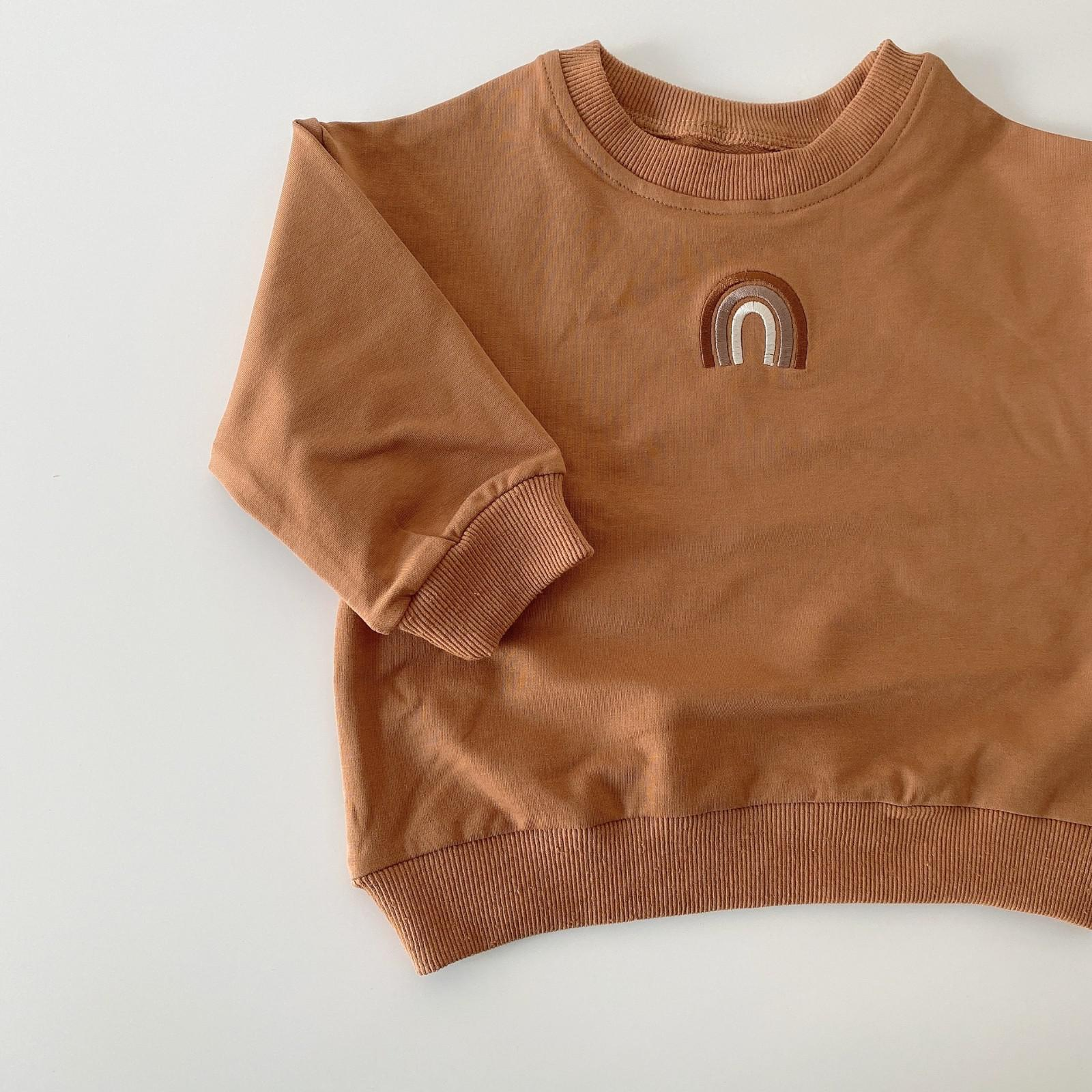 Autumn Baby Girls Embroidery Rainbow Sweatshirts Long Sleeve Tops Kids Toddler Boys Pullover Sweatshirt Rainbow T-shirt Clothes 7