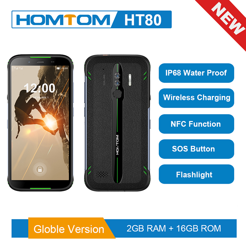 Global version HOMTOM HT80 NFC function IP68 Waterproof Smartphone Android 10.0 5.5inch Wireless charge SOS Mobile phone new2019(China)