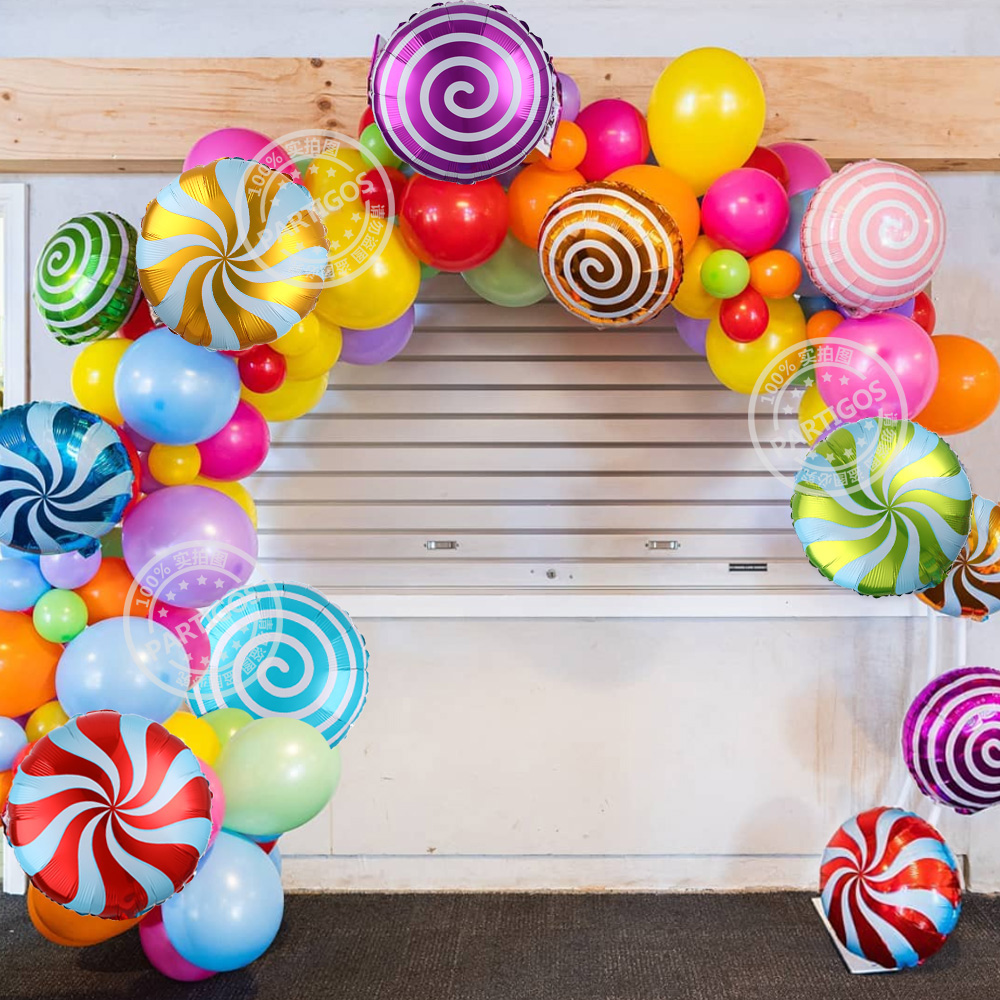 10pcs/lot Colorful Candy Foil Balloons 18 Inch Round Lollipop Balls Wedding Valentine's Day Birthday Party Decoration Kids Globo