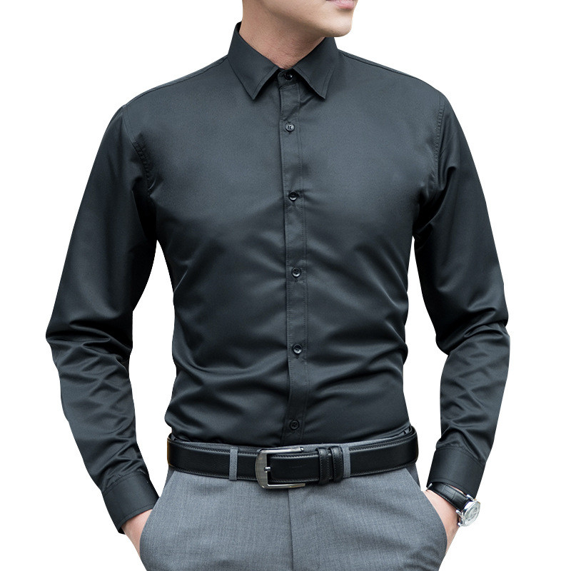 2019 New Autumn Long Sleeve Men Shirts Black White Gray Slim Big Size Shirt Office Work Casual Male Solid Color Shirt Plus Size