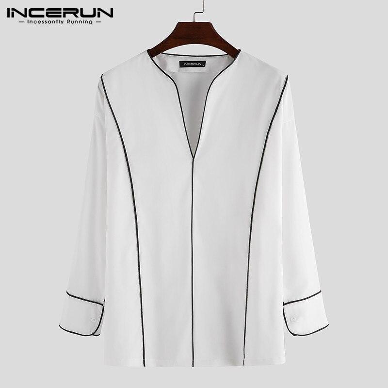 INCERUN Fashion Men Casual Shirt High Street V Neck Korean Style Long Sleeve 2020 Brand Blouse Color-block Loose Camisa S-5XL