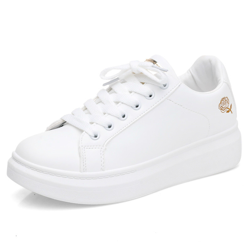 2020 женская повседневная обувь; Новая весенняя женская обувь; Модные белые кроссовки с вышивкой; Дышащие женские кроссовки на шнуровке с цветочным принтом