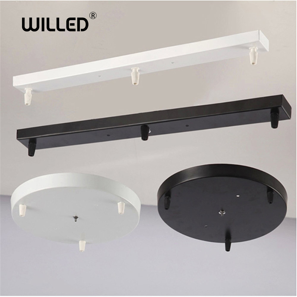 DIY Lighting Accessories Ceiling Plate Black/White Iron For Pendant Lamp Bases 3 Holes 25-60cm Straight/Round Base Fittings
