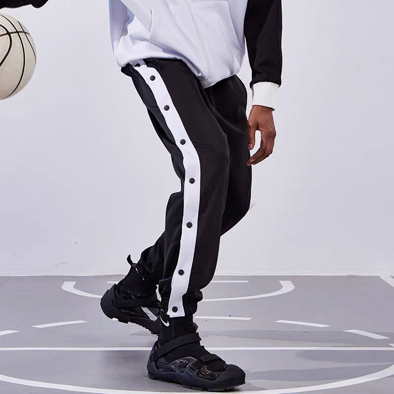 Брюки мужские однобортные на пуговицах, баскетбольные штаны с боковым швом, спортивные тренировочные штаны, с застежкой на пуговицах
