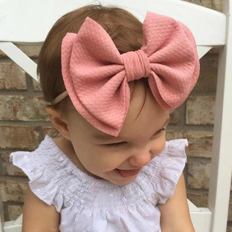 1PC ビッグ弓ノットベビーカチューシャ幼児弾性ベビーヘアアクセサリーかわいいベビー弓新生児帽子ヘッドドレスヘアバンド