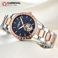 CARNIVAL Luxury Diamond Starry Women Watches Women's Fashion Automatic Mechanical Watch Lady's Waterproof Steel Writwatch Clock