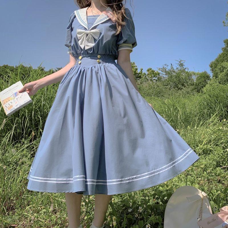 Платье женское хлопковое с бантом, милое ТРАПЕЦИЕВИДНОЕ ПЛАТЬЕ в японском стиле Лолита, с матросским воротником и длинным рукавом, в стиле п...