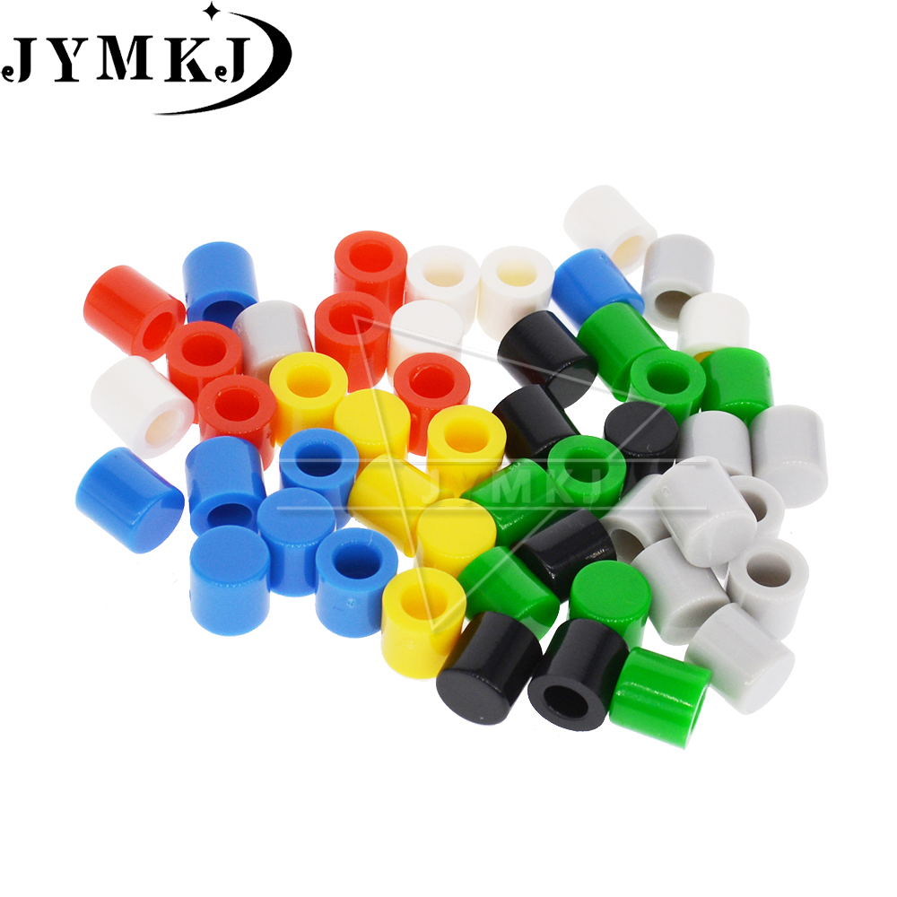 NEW 50pcs/lot 7 Color Tactile Button Caps Plastic Cap Hat For 6*6mm Micro Tact Switch For Arduino