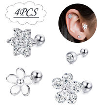 Lip Stud Ring Steel Ear Tragus Cartilage Piercing Oreja Earring Ear Stud Flower Helix Sexy Body Piercing Jewelry(China)