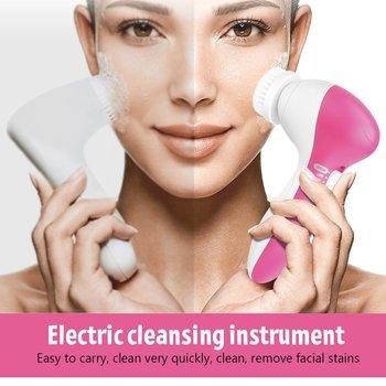 Elektryczna szczoteczka do oczyszczania twarzy Cleaner Massager żel do mycia twarzy maszyna do twarzy dokładne czyszczenie porów pielęgnacja skóry wodoodporny silikon 5 w 1 tanie i dobre opinie HAIMAITONG CN (pochodzenie) Electric Face Cleansing Brush Facial Cleansing Device Sonic Face Brush Restore Soft And Smooth Skin