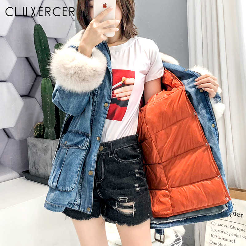 Women Jean Jacket Winter Thick Jean Jacket Real Fox Fur Collar Denim Coat And White Duck Down Jacket 2 Piece Set Coat Outerwear