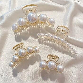 Big Pearl Hair Claw For Women Ladies Makeup Hair Barrettes Hair Accessories Korean Cross Crab Hair Clip Fashion Girl Headwear 2