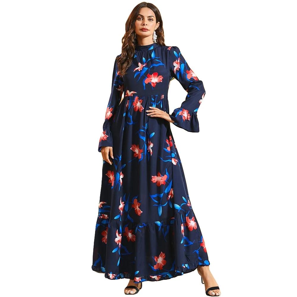 Abaya Printed Women Dress Maxi Muslim Long Sleeve Kaftan Islamic Dubai Robes
