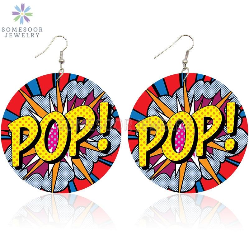 SOMESOOR POP LOL WOW Comic Bubble Printed Wood Drop Earrings Cool Queen Hiphop Cartoon Designs Dangle Jewelry For Women Gifts