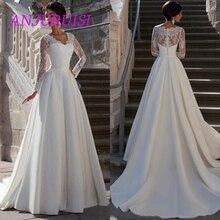 ANJURUISI 2019 ארוך שרוולים תחרה חתונה שמלות קו V צוואר אפליקציות רוכסן לטאטא רכבת אלגנטי פורמליות שמלות כלה באינטרנט