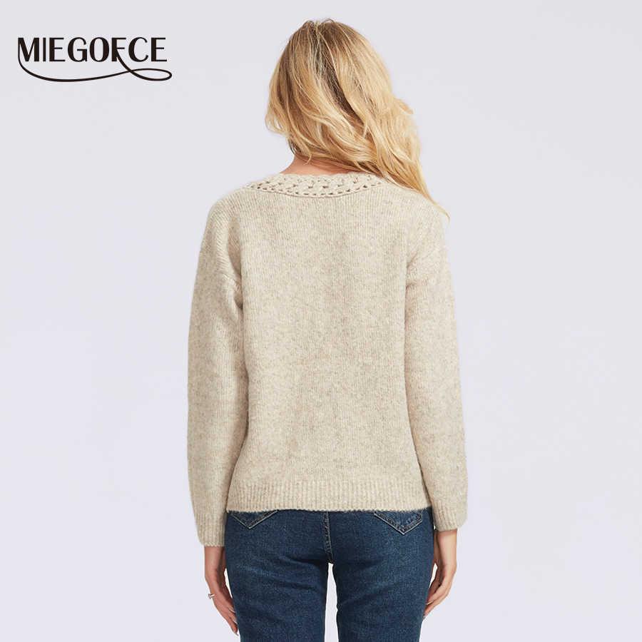 Miegofce 2019 女性のセーター新ファッション V ネックプルオーバーポリエステル服と不規則な形状ニット女性のプルオーバー