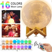 Led 3D print moon lamp 16Colors Touch Usb night light Rechargeable gift wed bedside lamp love decor lamp led light Cheap Popular