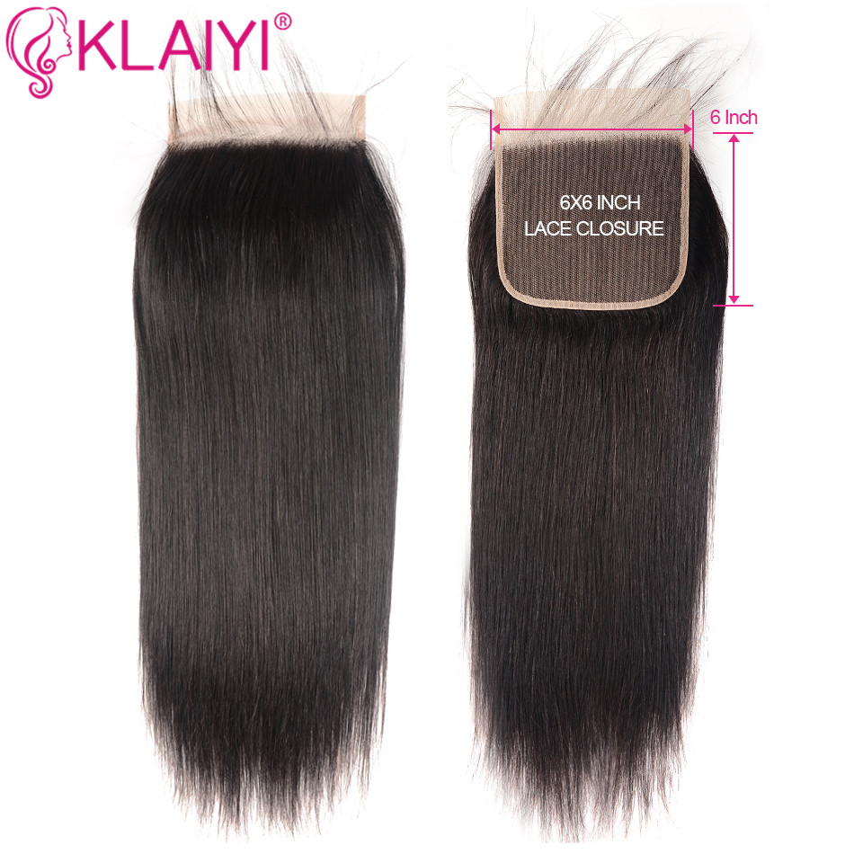 KLAIYI Human Hair Closure 6*6 Straight Closure 10-18inch Lace Closure Brazilian Remy Hair Swiss Lace Closure Natural Color