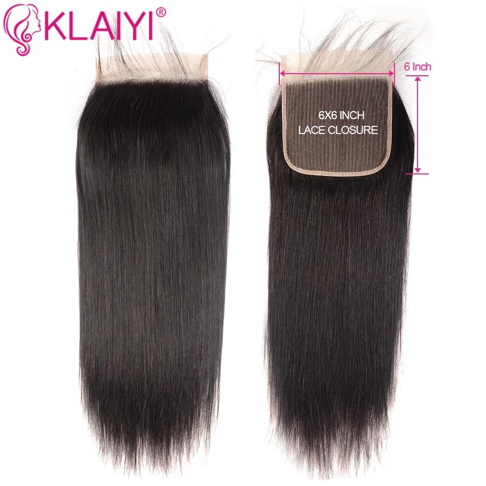 KLAIYI Human Hair Closure 6*6 Straight Closure 10-18inch Lace Closure Brazilian Remy Hair Swiss Lace Closure Natural Color