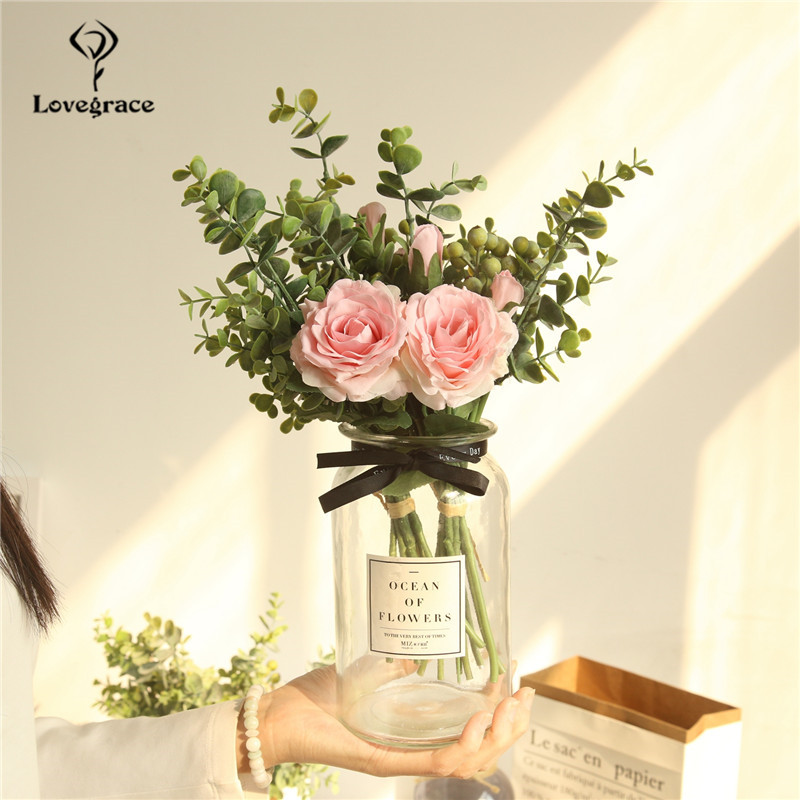 Artificial Silk Roses Green Plant Flower Bouquet Fake Eucylaptus Silk Flores For Wedding Home DIY Decoration Roses Flower Bundle