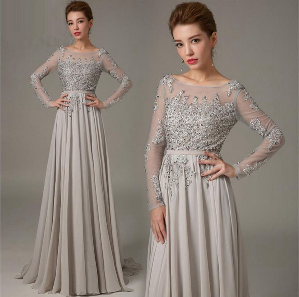 2018 Elegant A-line Chiffon Grey Long Sleeves Appliques Lace Beads Custom Low Back Sexy Evening Gown Mother Of The Bride Dresses