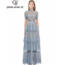 Qian Han Zi 2019 designer fashion runway Maxi dress Womens Short Sleeve Hollow Out Embroidered Lace Elegant Long Party Dresses