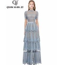 Qian Han Zi 2019 tasarımcı moda pist Maxi elbise kadın kısa kollu Hollow Out işlemeli dantel zarif uzun parti elbiseler