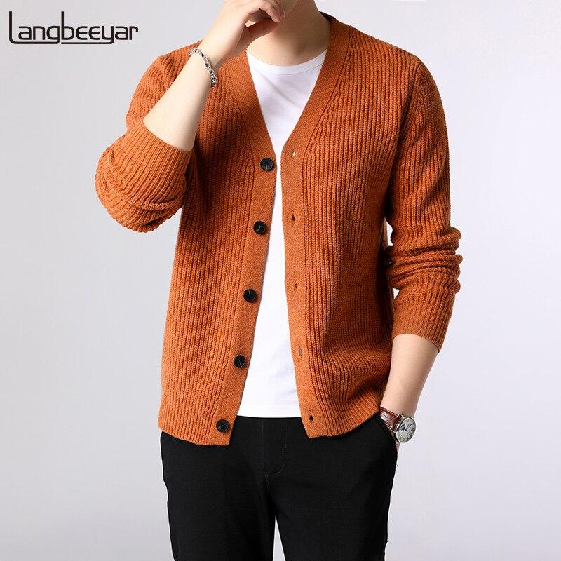 2020 nueva marca de moda Chaqueta de punto para hombre grueso Slim jerséis con punto de invierno cálido estilo coreano ropa Casual de hombre