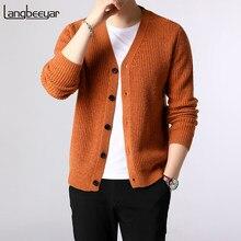 Chaqueta de punto para hombre, jerséis con punto grueso y ajustado, estilo coreano, ropa informal, nueva moda, 2021