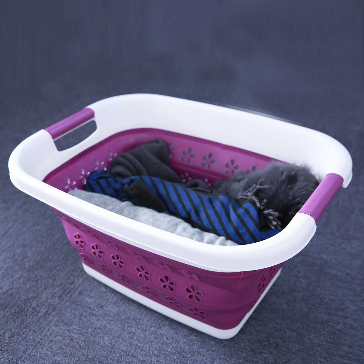 Foldable Purple Storage Dirty Clothing Baskets Large Collapsible Laundry Basket Silicone Wash Clothes Fruits Bin Space Saving