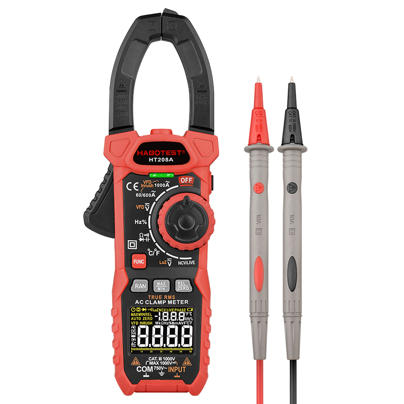 Professional Clamp Meter Multimeter 1000V 1000A AC DC True RMS Pinza Amperimetrica Capacitance Ohm Hz VFD Digital Clamp Tester