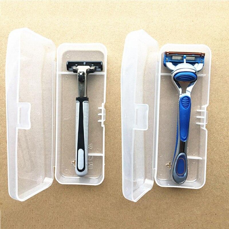 Mężczyźni uniwersalny uchwyt do przechowywania golarki uchwyt skrzyni pełna przejrzystość obudowa z tworzywa sztucznego pudełka do golenia ekologiczne pudełko do golenia PP wysoka jakość