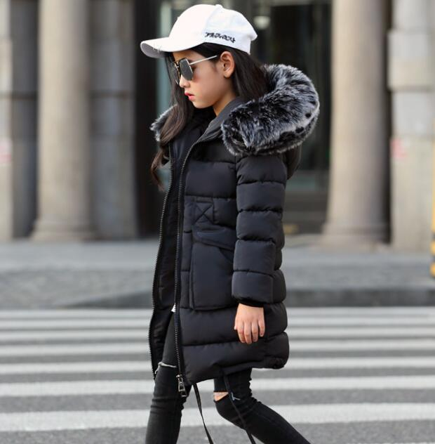 Girls Winter Coats 2020 new Faux Fur Collar Hooded Down Parka Children Girls Thicken Warm Outwear Kids Jackets & Coats