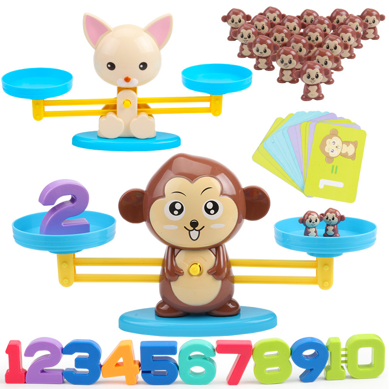 Math Match Game Board Toys Monkey Cat Digital Balance Scale Toy Kids Educational Learning Toy Add Subtract Math Toys