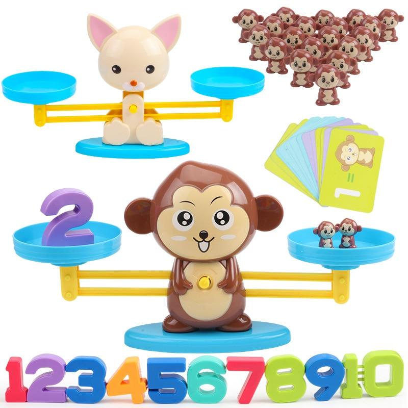 Jogo tabuleiro de matemática, macaco e gato, brinquedo com escala digital, para aprendizagem educacional, adicione, brinquedos de matemática