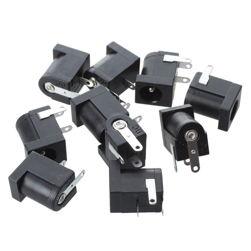 10pcs DC005 PCB Mount <font><b>5.5</b></font> x 2.1 mm Female <font><b>DC</b></font> Power Jack <font><b>Plug</b></font> Socket Connector Black 2.1 Socket Round the Needle image