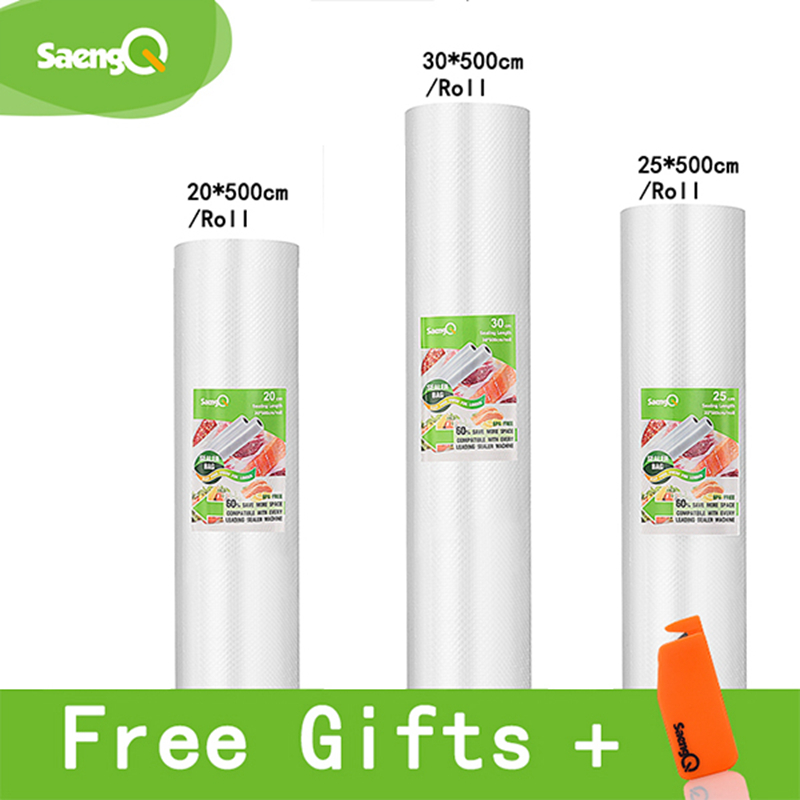 SaengQ Vacuum Sealer Bags For Food Vacuum Sealer Food Long Keeping 12+15+20+25+30cm*500cm 3 Rolls/Lot Bags For Vacuum Packer