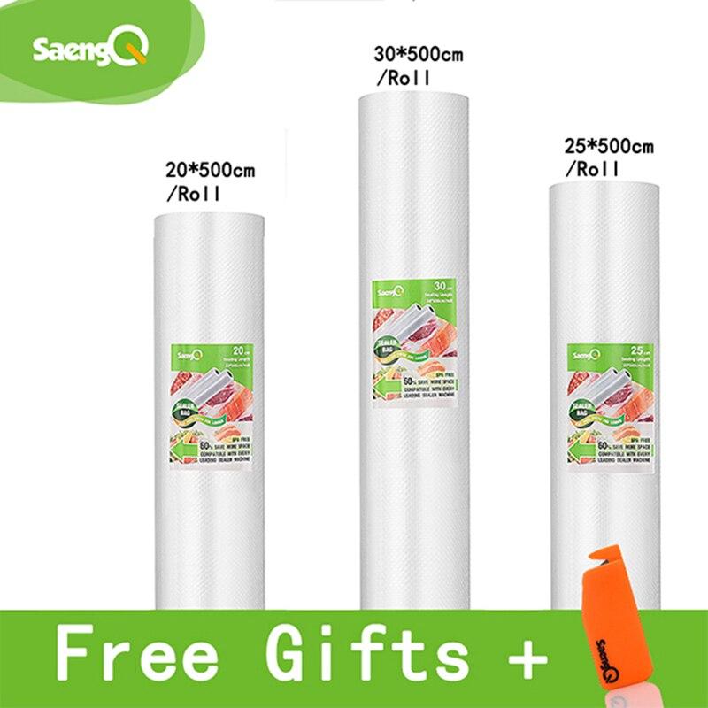 SaengQ Vacuum Sealer Bags For Food Vacuum Sealer Food Long Keeping 12+15+20+25+30cm*500cm 3 Rolls/Lot Bags For Vacuum Packer