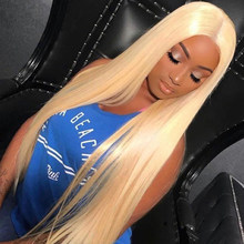 613 Blonde Virgin Human Hair Full Lace Wigs 150% density Bleached Knots with Baby Hair Around Pre Plucked Hair 36 38 40 42 inch(China)