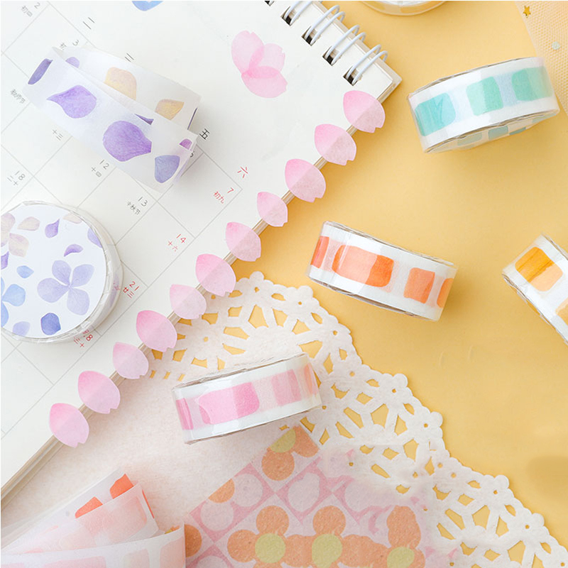 * Washi Tape Watercolor And Plants Series Colorful Flowers Green Purple Stationery Kawaii Pink Masking School&Office