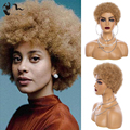 XISHIXIUShort Afro Kinky Curly Wave 98% Human Blend Hair Wigs Off Black Blonde Color Wig For Black Women WithBang/FringeWigs