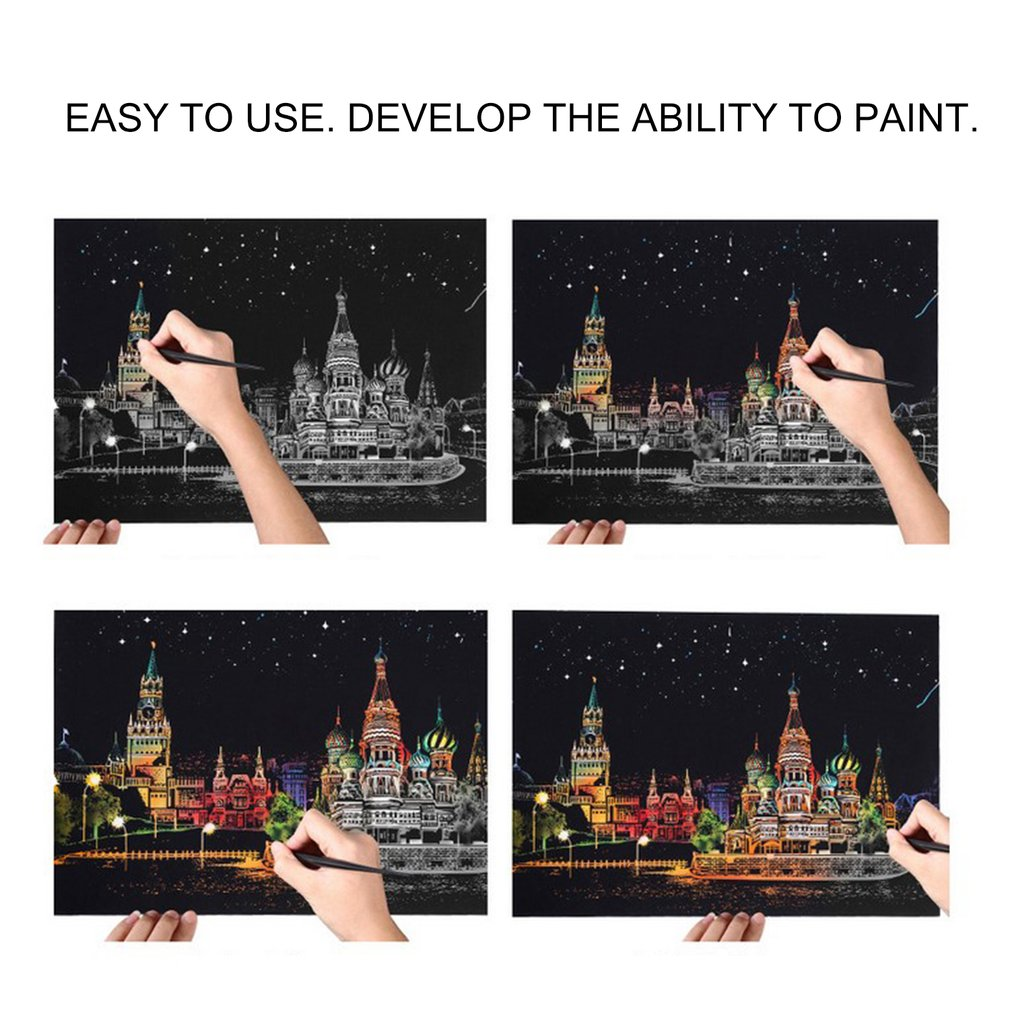 Large City Night Kids Scraping Paper Scratch Picture Painting Travel Memory Urban Night Scene DIY Craft Birthday Gift For Kids