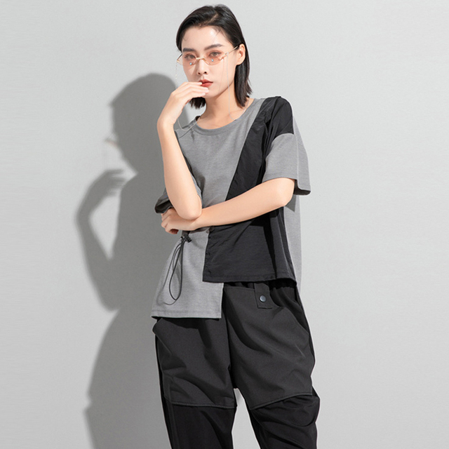 [EAM] Women White Irregular Drawstring Big Size T-shirt New Round Neck Short Sleeve Fashion Tide Spring Summer 2021 1DD9278 3